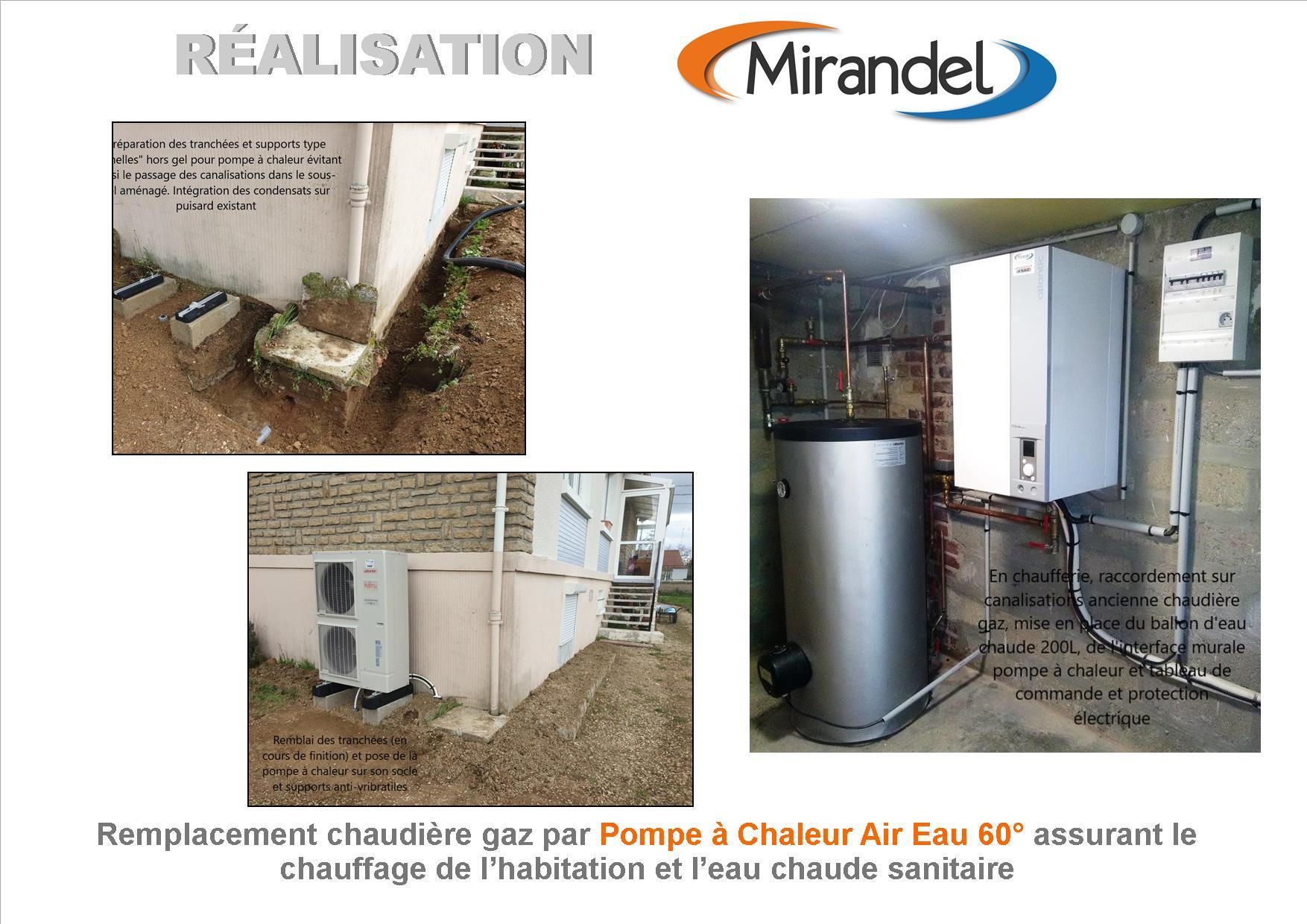 Remplacement chaudière gaz par pompe à chaleur Air Eau 60° à LOISY SUR MARNE 51300