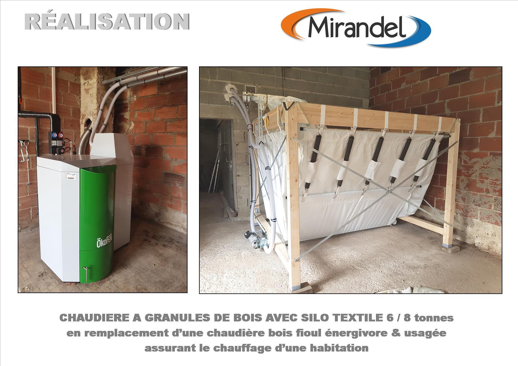 Chaudière à granulés de bois avec silo textile à SALON 10700