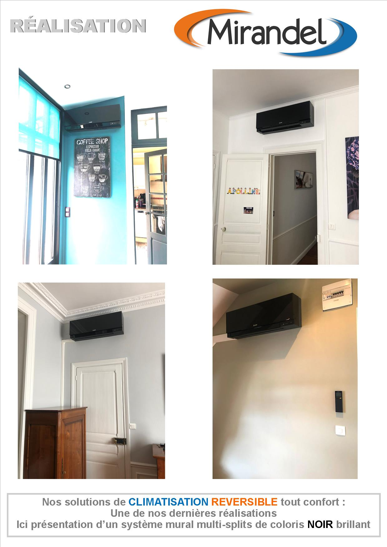 Système de climatisation multi-splits de coloris noir à REIMS