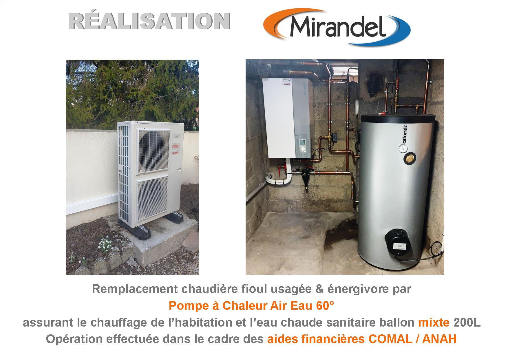 Dossier COMAL : remplacement chaudière fioul usagée et énergivore par pompe à chaleur air / eau