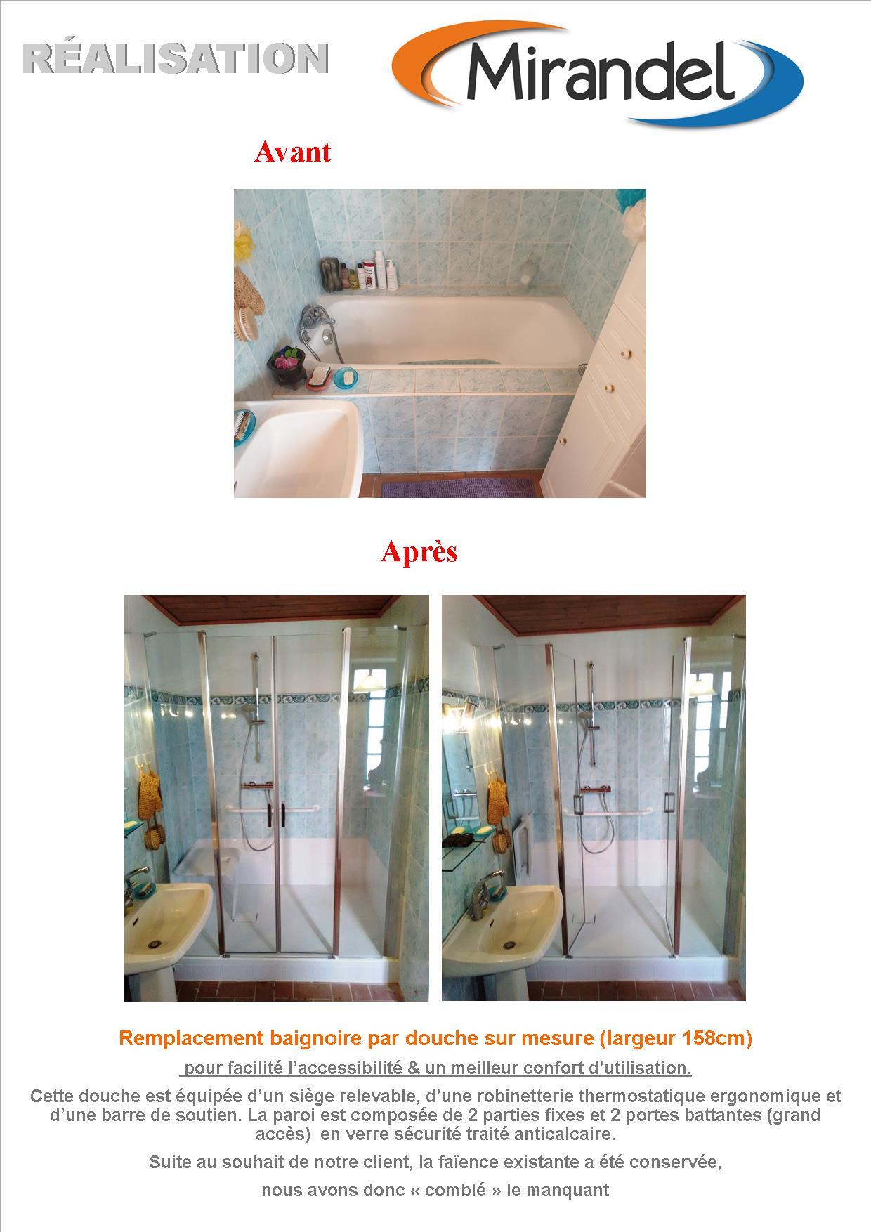 Remplacement baignoire par douche (accessibilité)